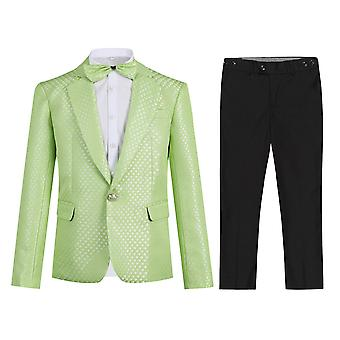 Homemiyn Boy Single-breasted Checkered Back Split Suit(coat & Bow Tie & Pants)