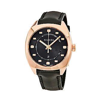 Gucci Ya142407 zwarte wijzerplaat lederen riem horloge voor mannen