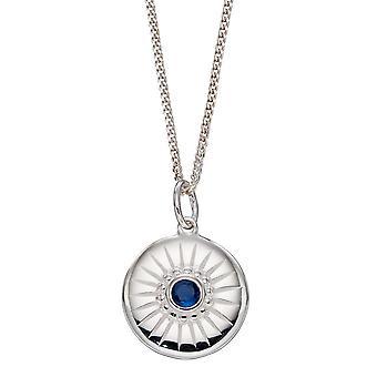 بدايات الماس قطع القرص قلادة مع الياقوت الأزرق كريستال P4971L