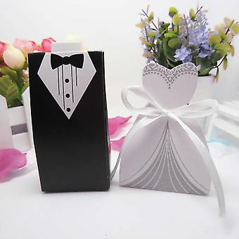 50 Pcs Black & White Candy Gift Boxes With Ribbon For Wedding Party Favor