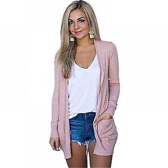 Lohill Womens Long Cardigan Plain Tops Ladies Open Front Casual Loose Blouse Plus Size