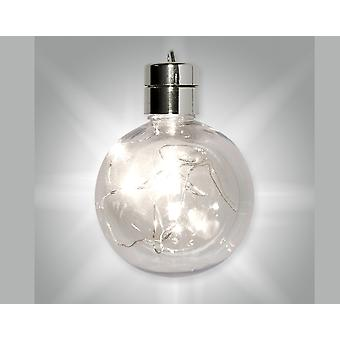 Premium 80mm Light Up LED Fillable One-Part Clear Plastic Christmas Bauble