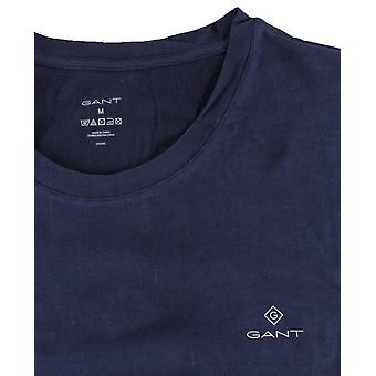 Gant 2 Pack Crew Hals T-skjorte - Marineblå/Hvit