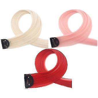 3kpl väri peruukki pala yksiosainen hiukset pala näkymätön liukuväri hiukset jatkokappale (punainen S)
