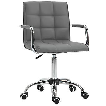 Vinsetto Mid Back PU Leather Home Office Desk Chair Swivel Computer Salon Stool with Arm, Wheels, Height Adjustable, Grey