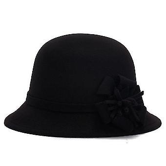 Autumn and Winter Ladies Vintage Imitation Wool Flower Hat(Black)