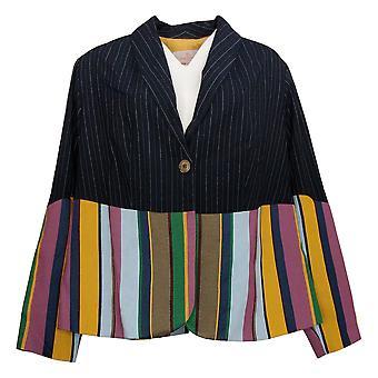 Laurie Felt Women's Plus Double Striped Blazer Black A377072