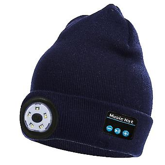 Wireless bluetooth knitted hat with led light, outdoor night running fishing lighting hat(Blue)