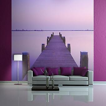 Tapete - Purple Sunset: Gehweg auf einem See