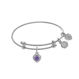 February Heart Shape CZ Birthstone Charm Adjustable Bangle Girls Bracelet