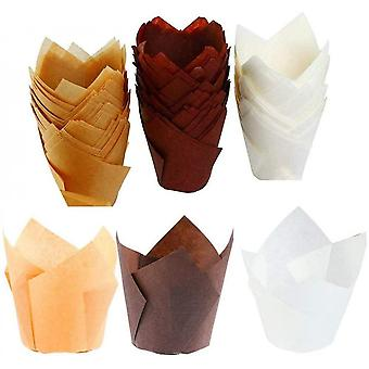 150 Pcs Tulip Baking Paper Cups, Small Cupcake Muffin Wrappers, Muffin Cups For Weddings, Birthdays, Baby Showers