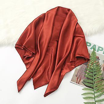 35in Cetim Cabeça lenços vintage quadrado sensação de seda, tijolo vermelho
