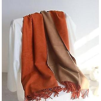Double-sided Solid Color Dual-purpose Bib Mid-length Thick Warm Shawl