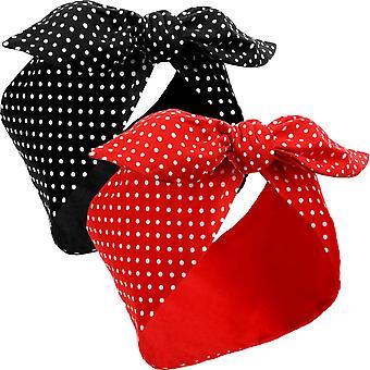 2pcs Headband Retro Black + Red Headband Line Headband Girls And Ladies Polka Dot Pattern