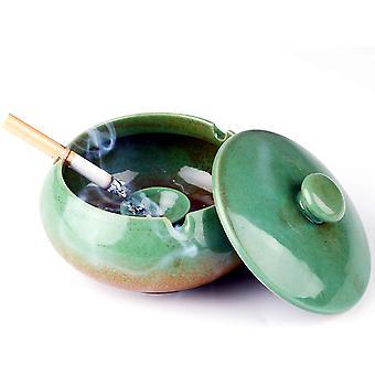 Keramik Aschenbecher mit Deckel Winddichte Zigarette Aschenbecher mit Abdeckung Aschehalter Desktop Rauchen Aschenbecher (grün)