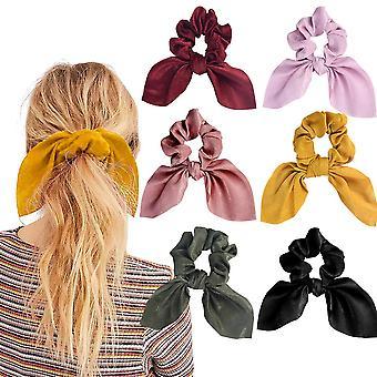 6db Hair Scrunchies Satin Bunny Ear Bow Bowknot Scrunchie Bobbles