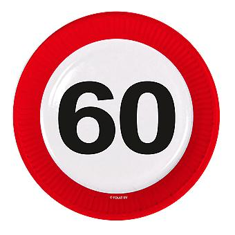 Party plate traffic sign number 60 birthday plates 8 PCs paper plates party