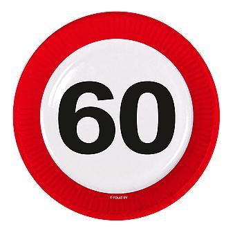 Il numero di segno di traffico della piastra di partito compleanno 60 piastre 8 pz carta festa piastre