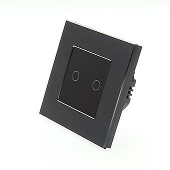 Eu LumoS alumínio escovado 2 Gang 1 toque de maneira remota & Dimmer LED luz negra alternar Insert preto