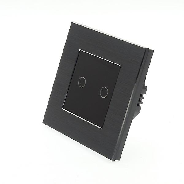 I LumoS Black Brushed Aluminium 2 Gang 1 Way WIFI/4G Remote Touch LED Light Switch Black Insert