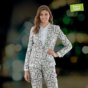 Cashing Money noble ladies suit dollar suit 2-piece costume deluxe EU SIZES