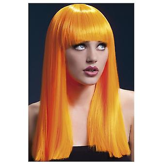 Wigs  long straight wig orange with bangs Alexia