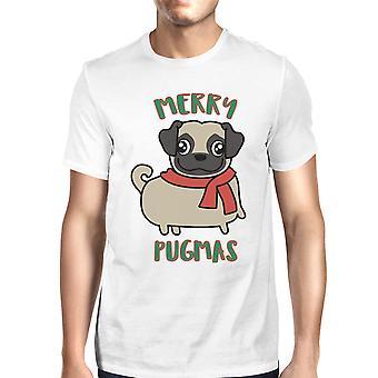 メリー Pugmas パグ Pug の所有者のためのメンズ ホワイト クリスマス t シャツ プレゼント