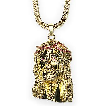 18k Gold Plated XL Jesus Pendant with Red CZ Crown 2.25 inches