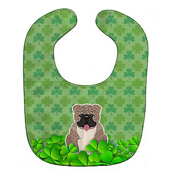 Carolines Treasures  BB6267BIB English Bulldog Grey Brindle  Shamrocks Baby Bib
