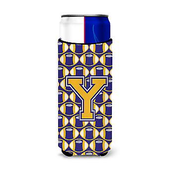 Letter Y Football Purple and Gold Ultra Beverage Insulators for slim cans