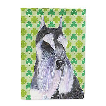 Carolines Treasures  SS4408-FLAG-PARENT Schnauzer St. Patrick's Day Shamrock Por