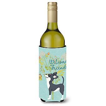 Welcome Friends Black White Chihuahua Wine Bottle Beverge Insulator Hugger