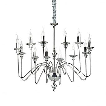 Ideal Lux Artu Traditional Chrome Chandelier With 12 Bulbs