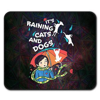 Regnete Katzen Hunde Mauspad mit Anti-Rutsch Pad 24 x 20 cm | Wellcoda