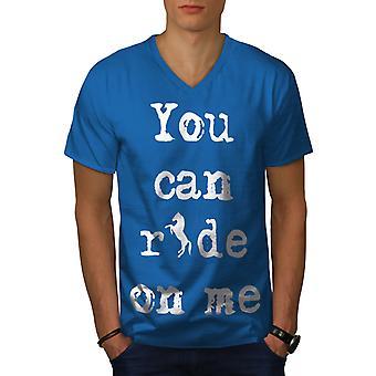 Ride Me Offensive Funy Men Royal BlueV-Neck T-shirt   Wellcoda