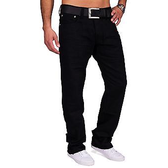 Menn belagt Denim Jeans svart bukse rett Leg Slim Fit bukser