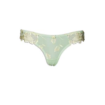 Camille Yellow Leaf Floral brodé Thong maillage vert Lime