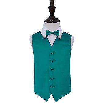 Teal Plain Satin Wedding Waistcoat & Bow Tie Set for Boys