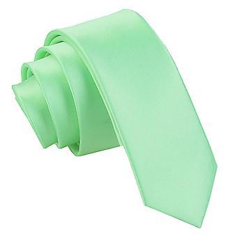 Mint Green Plain Satin Skinny Tie