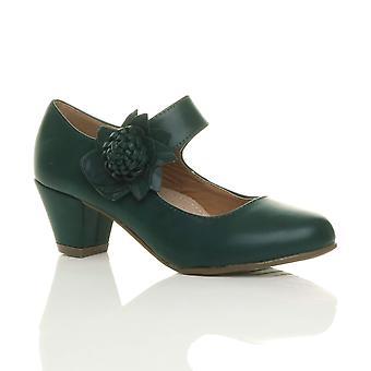 Ajvani kvinnors låga block kattunge heel mary jane stil blomma Skinnfodrade arbete domstolen skor pumpar