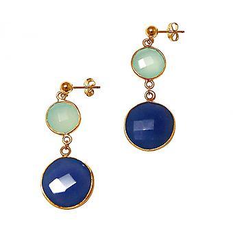 Boucles d'oreilles Gemshine Argent Plaqué Chalcedon Sapphire Sea Green Blue
