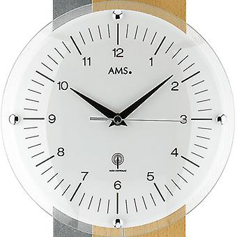 Wall clock with pendulum radio beech silver painted wood rear wall