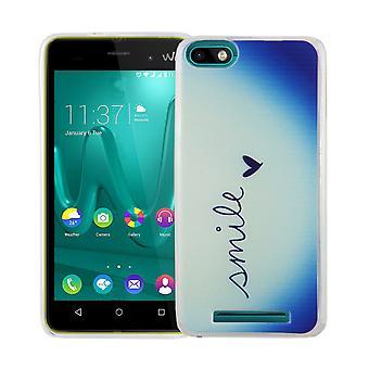 Caja móvil para WIKO Lenny 3 tapa bolsa protectora caso motivo slim silicona TPU Letras sonrisa Blau