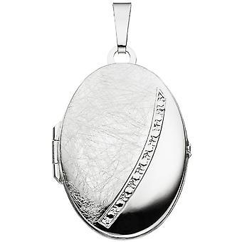 Gelo de parte do medalhão 925-s fosco prata oval de medalhão prata pingente foto