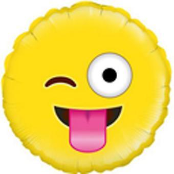 Oaktree Betallic 18 Inch Foil Crazy Emoji  Balloon