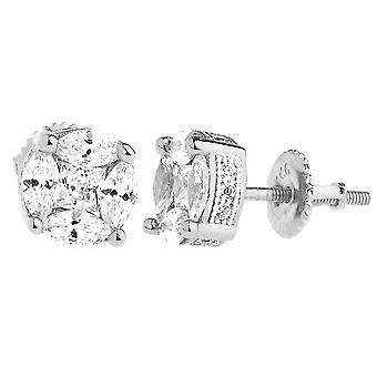 925 sterling silver bling zircon boucles d'oreilles - CLUSTER 8mm