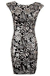 Ladies Celeb Grey Black Sequin Floral Pattern Sexy Bodycon Women's Party Dress