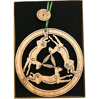 Plaque en bois suspendu - 3 x Lièvres Small par Knightingale Crafts
