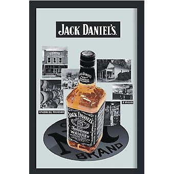 Jack Daniel's bottle & distillery mirror wall mirror with black plastic framing wood.