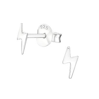 Lightning Bolt - 925 Sterling Silver Plain Ear Studs - W38457x
